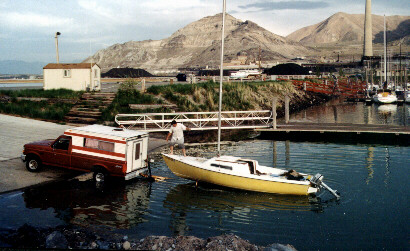 Boat ramp being used to launch a Venture 21.