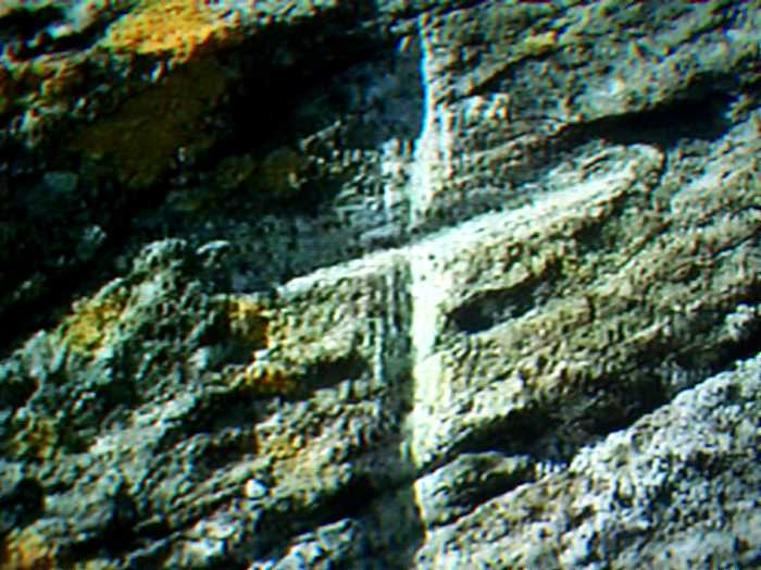 Kit Carson's cross carved in the rocks of Freemont Island.